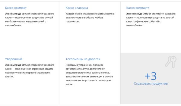 Основные продукты страхования каско на официальном сайте ВСК